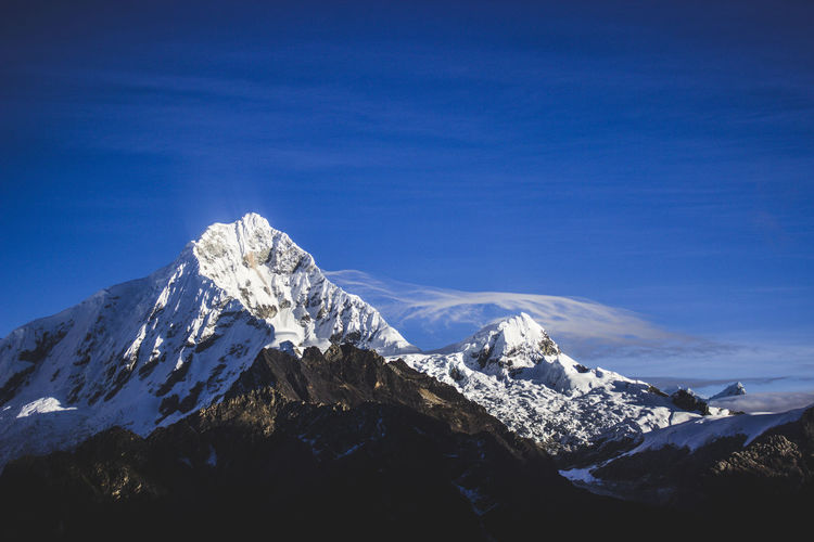 Huascarán mountain Mountain Snow Scenics - Nature Cold Temperature Winter Snowcapped Mountain Beauty In Nature Sky Mountain Range Tranquil Scene Tranquility Blue Mountain Peak Nature Environment Non-urban Scene Day No People Idyllic Outdoors Formation Peru Andes Huascaran