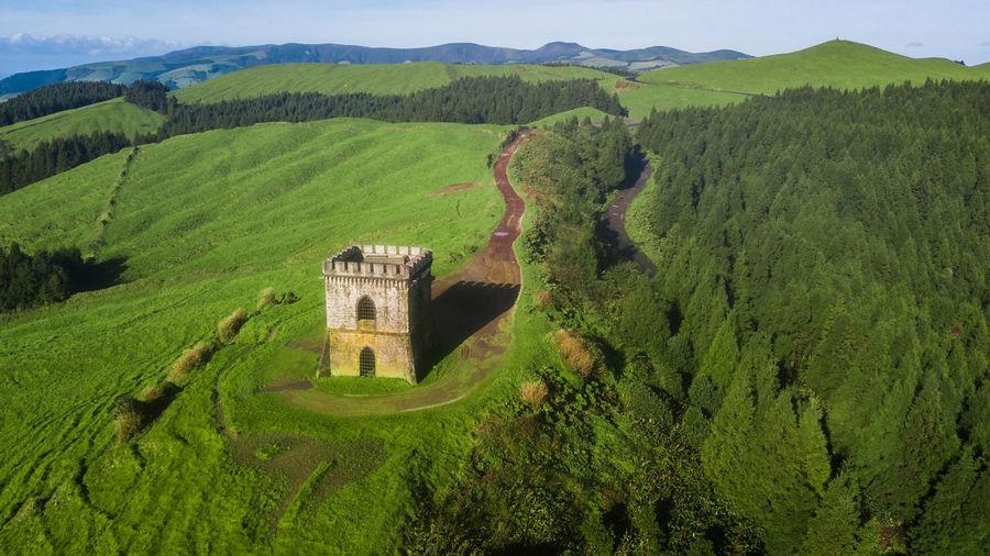 Drone view of castelo branco historic monument in vila franca do campo, sao miguel island, azores,