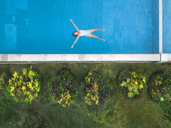 Plants growing in swimming pool