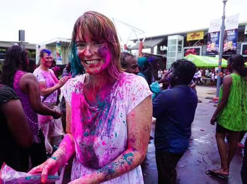 Women Around The World Holi Celebration Multi Colored Happiness Cultures Adult Tradition Party - Social Event Street Photography SUVA FIJI ISLANDS Black & White Adapted To The City People Pacific
