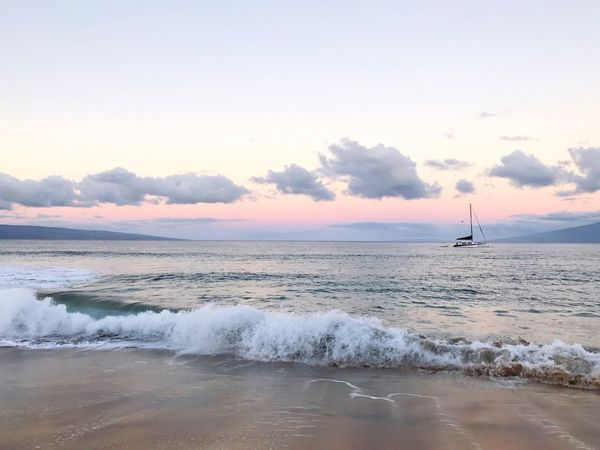 Vacation Destination Landscape_Collection Maui Hawaii Ocean View Pink And Purple Life Is A Beach Beachphotography EyeEm Nature Lover Sea Water Beach Sky Nature Beauty In Nature Scenics Horizon Over Water Cloud - Sky No People Tranquility Sand Outdoors Wave Tranquil Scene Nautical Vessel