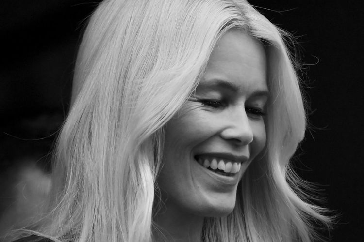 Women Beautiful People Eyes Closed  Beauty Portrait Long Hair One Person Claudia Schiffer Blackandwhite Photography Schwarzweiß Blackandwhite Close-up Human Face