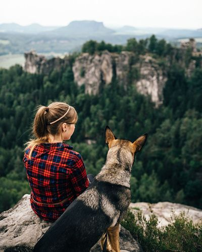 - Jule & Bella - Feel The Journey The Following Natural Light Portrait Adventure Club Wandering Portraits Mountains Portrait Of A Woman Dog Girl EyeEm Best Edits Summer People Wanderlust Portrait Taking Photos Wood Enjoying Life Bokeh Back