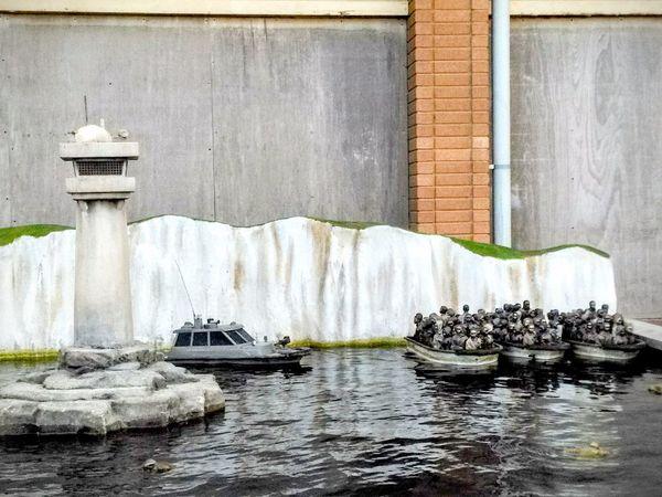 Water Travel Destinations Inmigrantes Different ArtWork United Kingdom Inglaterra Arts Culture And Entertainment Banksy Dismaland England🇬🇧 Dismaland® Banksyart Reino Unido Travel Inmigration Boat Patera