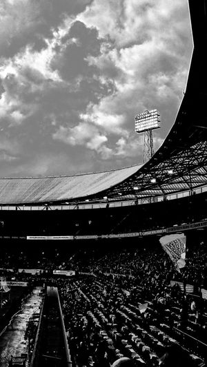 No People Architecture Cloud - Sky Sky Outdoors Stadium Architecture Rotterdam From My Point Of View. (c) 2017 Shangita Bose All Rights Reserved Before The Game De Kuip Feyenoord Rotterdam Stadium Lights Monochrome Black And White Noir Experimental Watching The Architect - 2017 EyeEm Awards