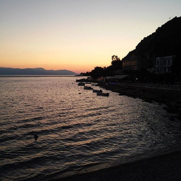 And I could write it down or spread it all around • Get lost and then get found or shallowed in the sea 🔅 💭 Sea Sunset Mountain Buildings Boats Loutraki Beach Summer Nature ✧
