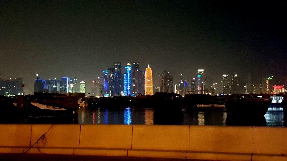 Corniche Doha Corniche Buildings Night Sea Lighting