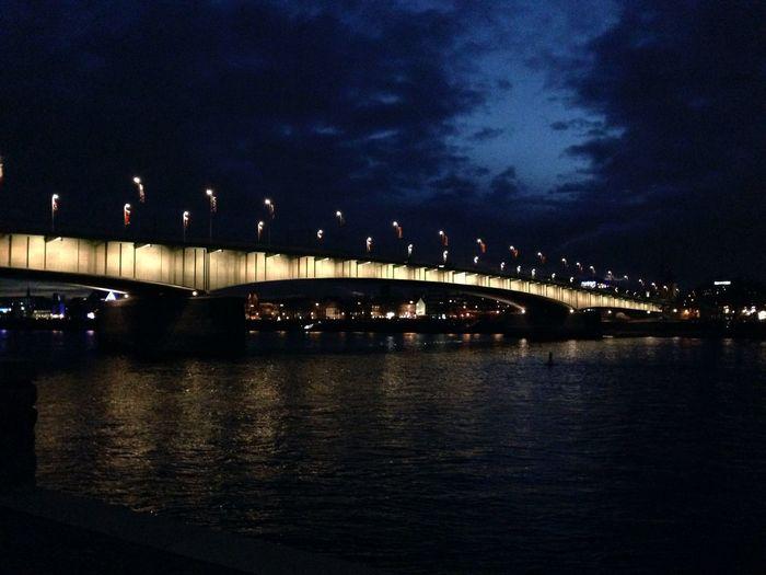 Cologne , Köln,  Illuminated Rhein Cologne At Night Night Lights Nightphotography Bridge - Man Made Structure Köln