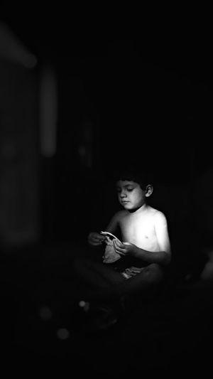 Girl Eating Dinner Night Lights Black Background Human Hand Females Women Dark Beauty 2018 In One Photograph