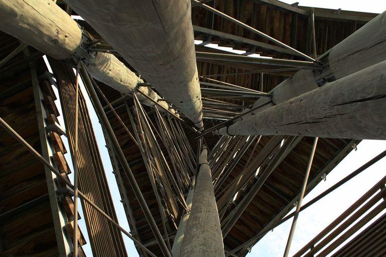 Low angle view of abandoned bridge