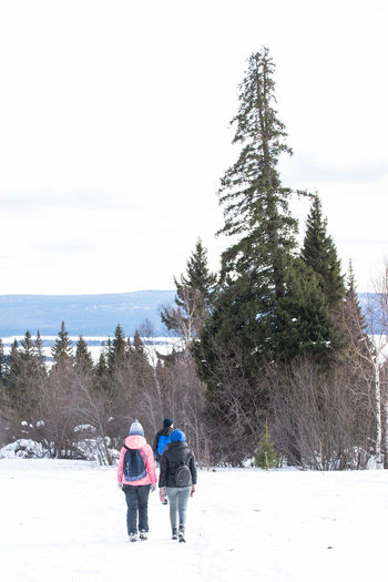 Rear view of people on snow covered land