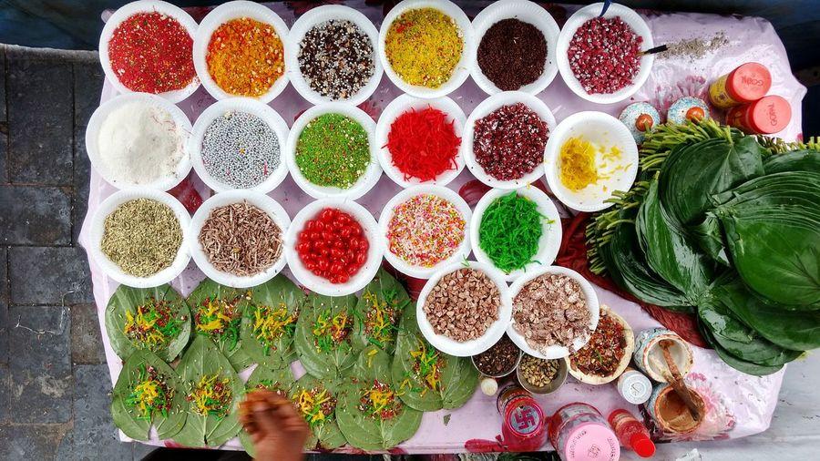 Banarasi Paan, Colorful Variety Colors Variation High Angle View