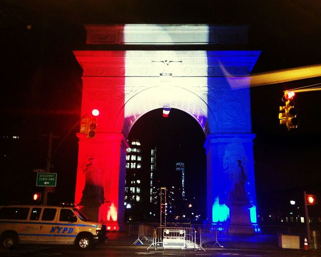Pray For Paris Rip Peace NYC God Bless Hope Arch Driving Around Working Late