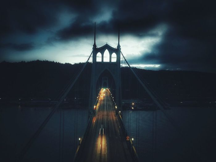 Flying High Saint John's Bridge Night No People Transportation Cloud - Sky Sky Dronephotography Bridge Dji Portland Oregon