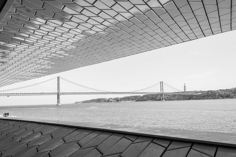 Architecture Architecture Bridge - Man Made Structure Built Structure City Connection Day Engineering Light Lisbon Maat Modern No People Outdoors Place Portugal Sky Structure Suspension Bridge Tourism Transportation Travel Travel Destinations Travel Photography Water