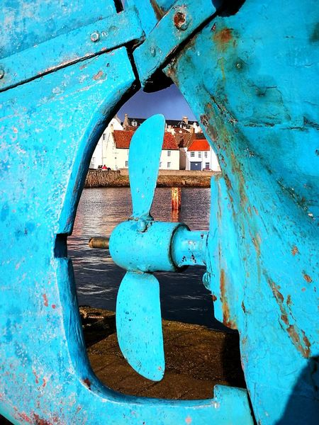Blue Close-up Outdoors Boat Propeller Rustic Keyhole View Huaweiphotography HuaweiP9 Huawei P9 Leica HuaweiP9Photography St Monans Fife