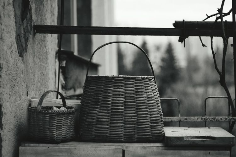 Basket Outdoors Day Old Items Black And White