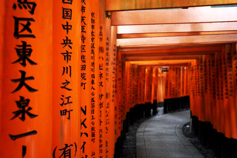 Torii Gate Architectural Column Architecture Built Structure Kyoto Kyoto Japan Kyoto Torii Orange Color Outdoors Religion Spirituality Torii Gate Japan Torii Gates Torii Tunnel Travel Travel Destinations EyeEmNewHere