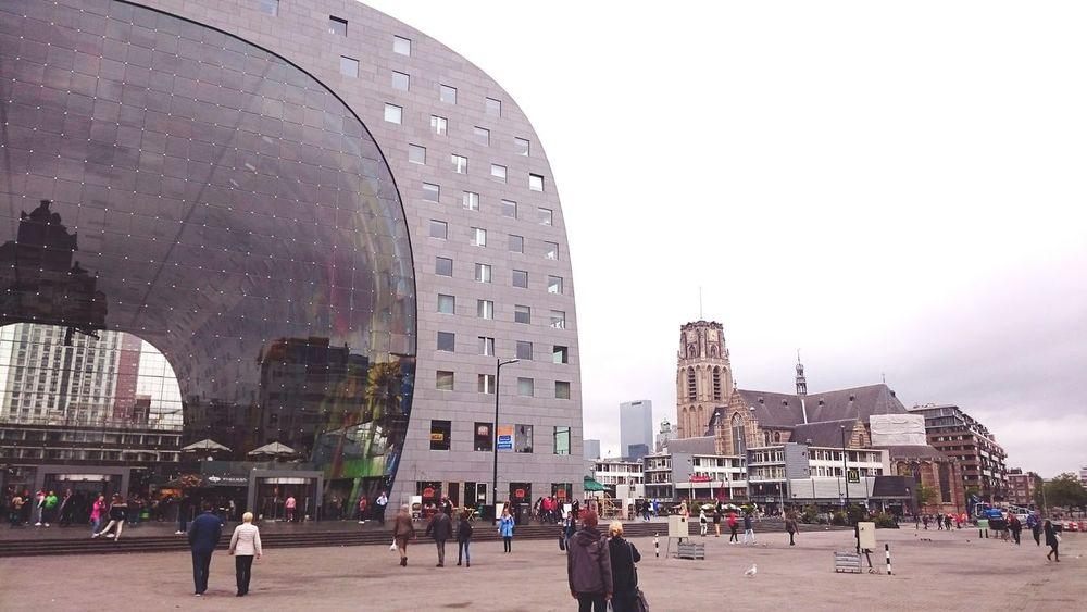 New and old as neighbours Great Architecture  Rotterdam Markethall Citytrip Outdoors Autumn Feeling Atmosphere Modern Historic Buildings Church