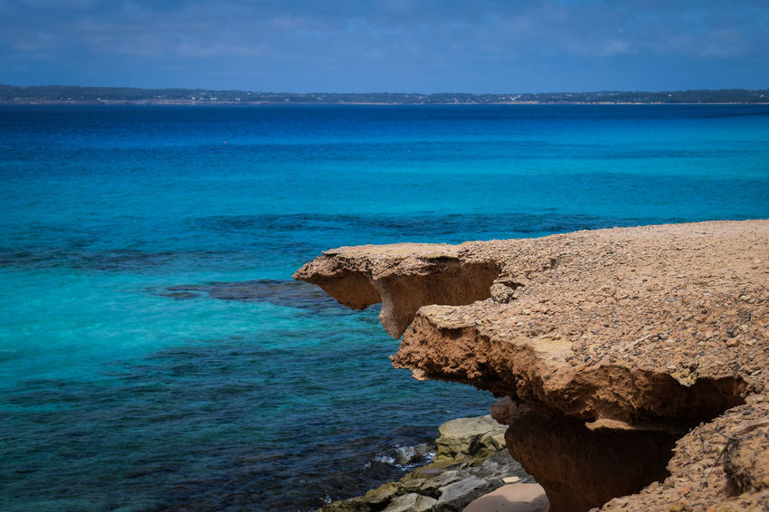 Beach Beauty In Nature Blue Day Formentera Formentera Island Horizon Over Water Nature No People Outdoors Rock - Object Scenics Sea Sky Tranquil Scene Tranquility Water