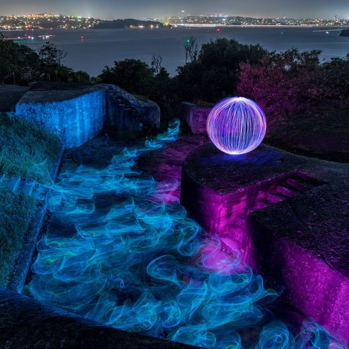 Middle Head LightPainting 1 Lightpainting Multi Colored Beach Night Sea Outdoors No People Blue Beauty In Nature Nature Sky Galaxy Astronomy