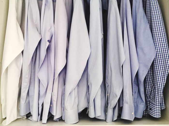 Close-up of shirts in the closet