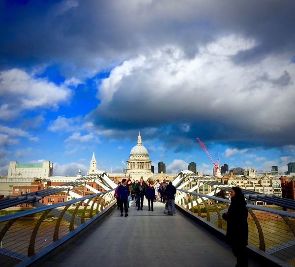 Millennium bridge Blue Sky And Clouds Blue Sky Thames River Crane Red Crane Engineering Vibrant Colour Clouds Cloud - Sky Architecture Sky Built Structure Group Of People Building Exterior Nature Dome History Real People City Crowd Travel Travel Destinations Men Large Group Of People The Past Women Government EyeEmNewHere