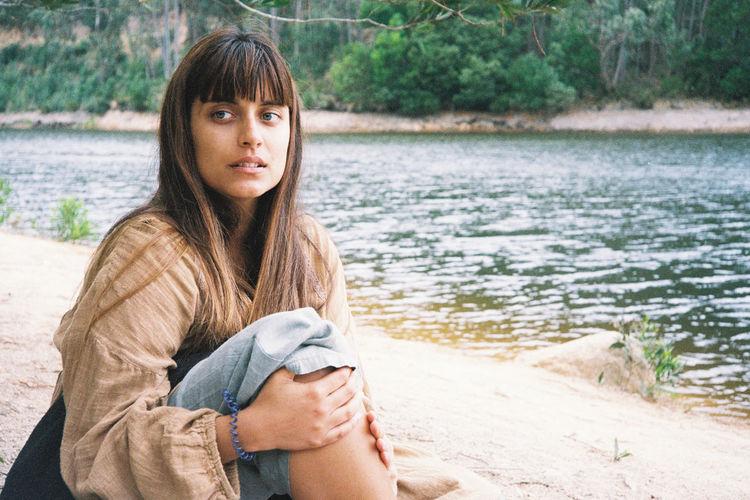 Peacful girl by the lake