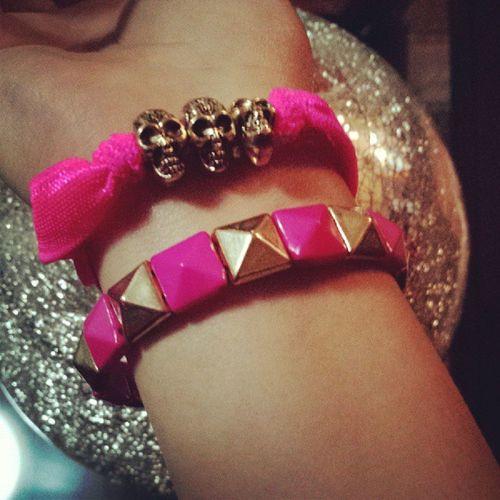 Bracelet :) Neonpink Braceletneon Skullpink Pulsera brazalete cute instalike followme follow