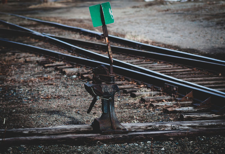 Lever by railroad tracks