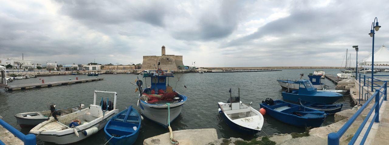 Panoramic View Of Boats Moored At Harbor