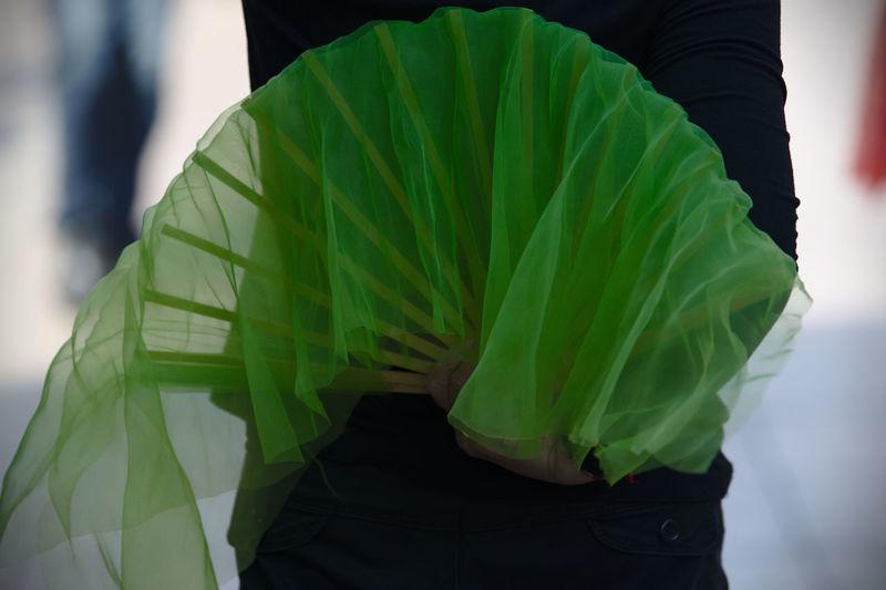 Person holding folding hand fan