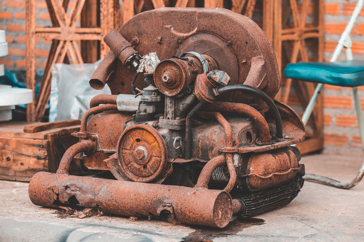 Old rusty machine part