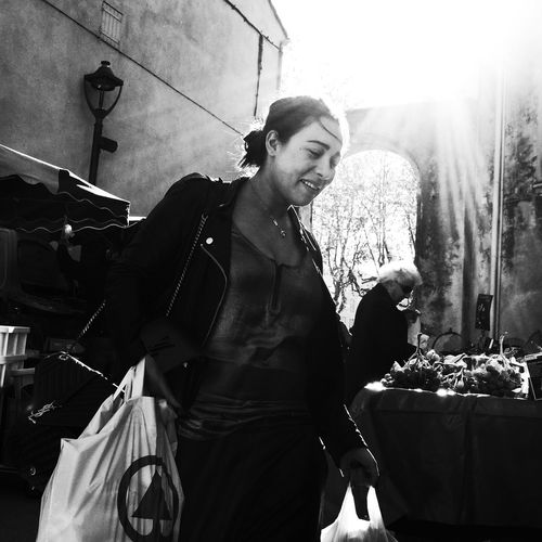 Noir Et Blanc Blackadnwhite Casual Clothing Day Food Front View Happiness High Contrast Leisure Activity Lifestyles One Person Outdoors Real People Smiling Standing Street Photography Streetphotography Young Adult Young Women