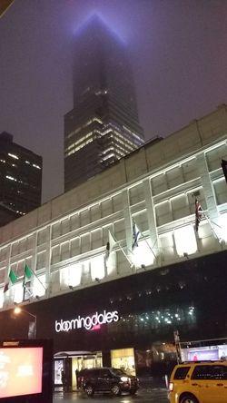 Learn & Shoot: After Dark Bloomingdales Street Looking Up Fogged In Building Bloomberg Building Fog Low Light