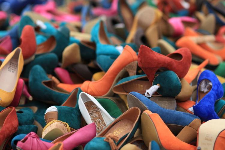Full frame shot of shoes for sale in market