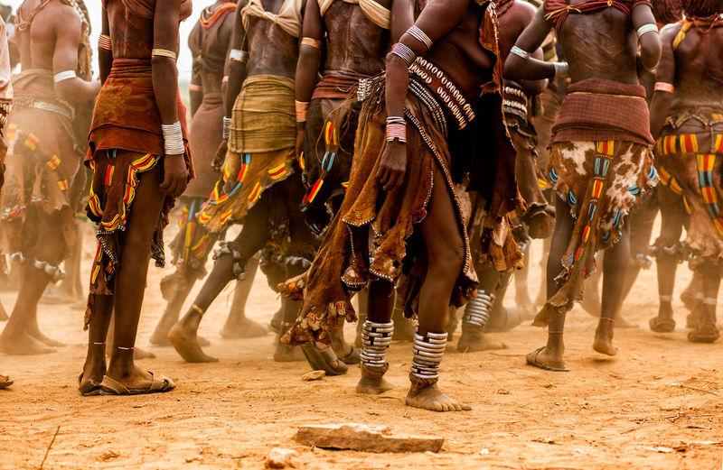 Tribal people on field