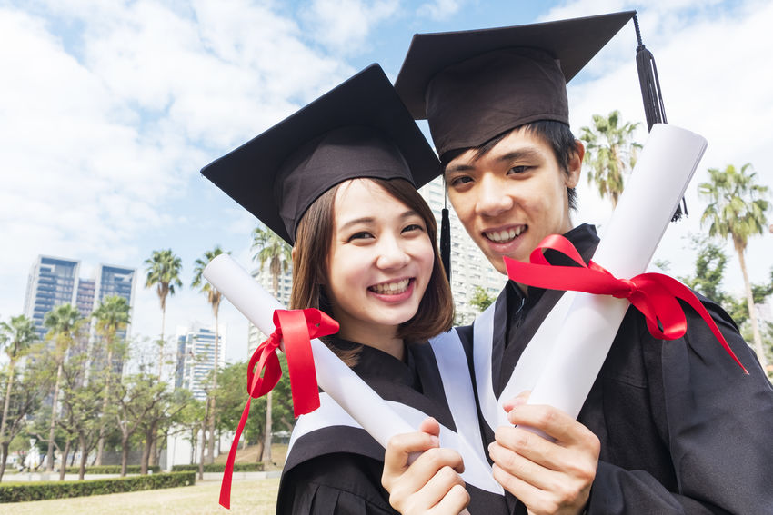 Asian  Graduation Japan Student Unıversıty Achievement Chinese Education Emotion Front View Graduation Graduation Gown Happiness Lifestyles Mortarboard Outdoors Portrait Positive Emotion School Smiling Student Togetherness Two People University University Student Women Young Adult Young Men Young Women