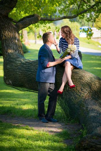 Man and woman enjoying at park