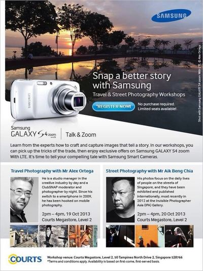 aikbengchia and i will be sharing our experiences and tips with the samsung s4 zoom. seats are limited so register early Samsung Mobilephotography