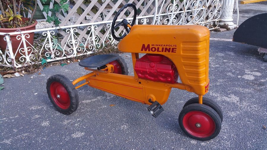 Ride Tractor Antique Antique Toys Multi Colored Orange Color Outdoors Pedal Cars Ride Toys Tractor