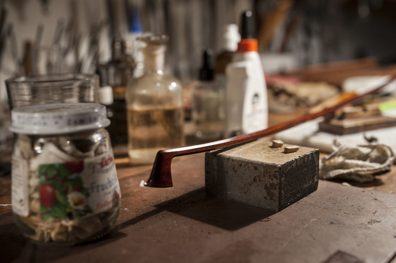 Art And Craft Bow Creativity Music Repairing Art And Craft Product Choice Close-up Craft Equipment Focus On Foreground Indoors  No People Old Preparation  Repair Selective Focus Still Life Table Variation Violin Bow Violin Maintenance Violin Maker Wood - Material Workshop A New Beginning