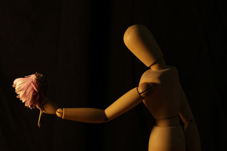 Close-up of wooden figurine against black background