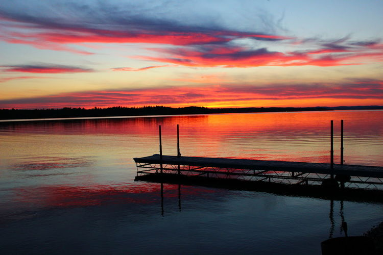 Dock At Colorful Sunset Lakeside Lake View Fiery Sky Fiery Sunset... Reflection Sunset Water Tranquility Silhouette Cloud - Sky No People Nature