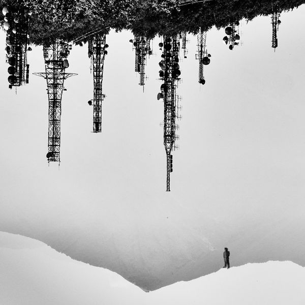 www.costangelo.com Antenna Avellino Beauty In Nature Black Clouds Cold Temperature Day Landscape Lonely Man Men Nature Nautical Vessel One Person Outdoors Real People Scenics Sky Sky And Clouds Snow Tree Upside Down Vacations White Winter