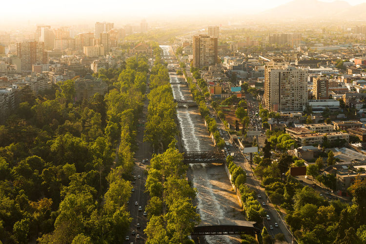 Mapocho river and forestal park  with the neighborhoods of patronato and bellavista, santiago, chile