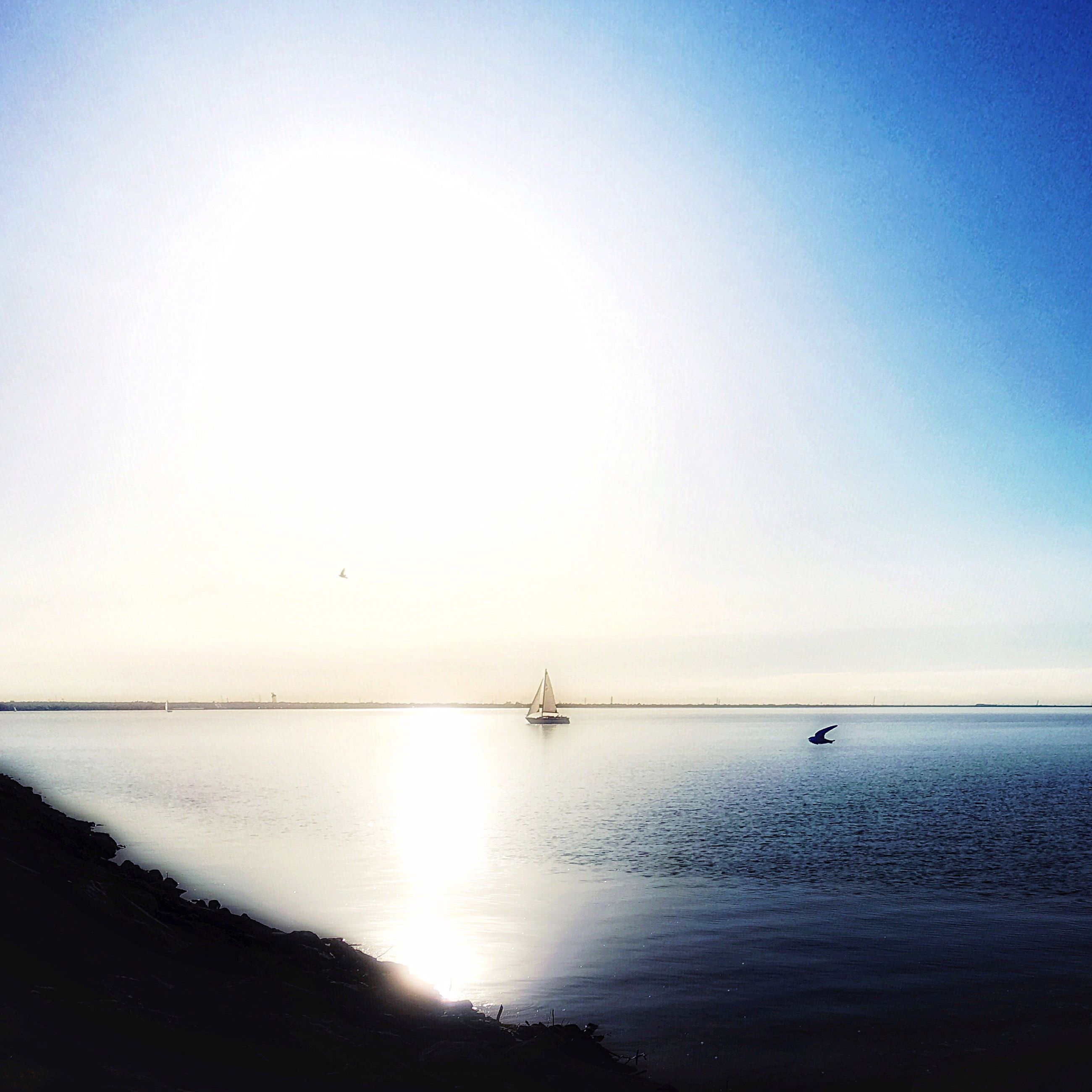 water, sea, clear sky, horizon over water, tranquil scene, tranquility, sun, copy space, transportation, scenics, nautical vessel, reflection, beauty in nature, nature, mode of transport, waterfront, boat, blue, idyllic, sunlight