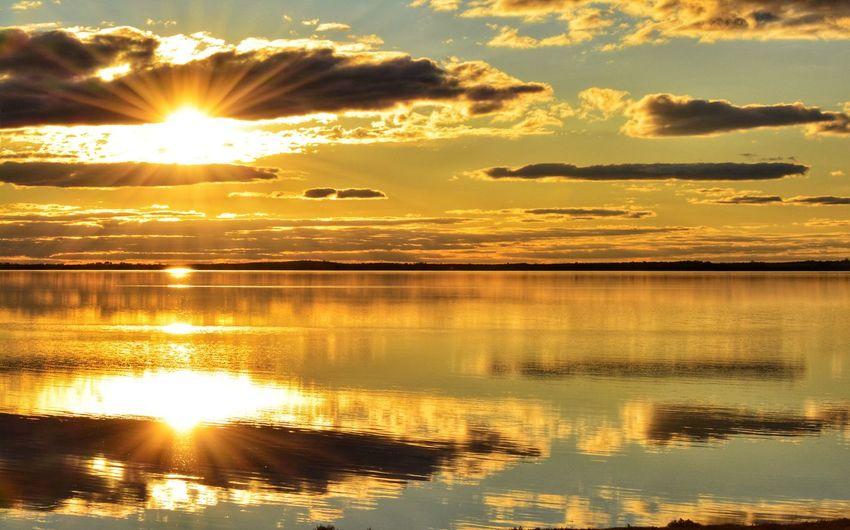 Sunset, Lake