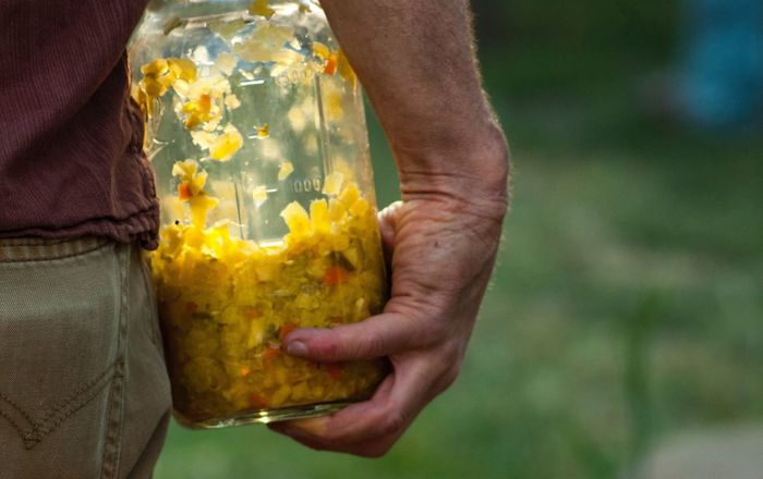 Outdoors Soft Focus One Person Freshness Yellow Holding Human Hand Midsection Focus On Foreground Close-up Hands Cupped Human Body Part Day People Adult Sauerkraut Homemade Countryside Country Life Kraut Fermentation Rural Poetry