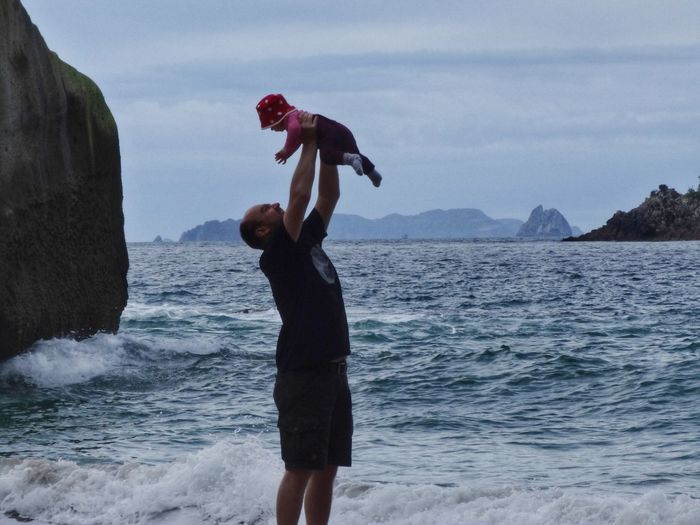 flying daughter Family Baby Flying Water Full Length Mountain Sky Shore Wave Crashing Tide Coast Beach Horizon Over Water Coastline Human Connection A New Perspective On Life
